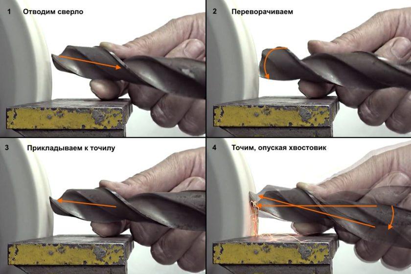 Переворачиваем сверло и точим вторую режущую кромку