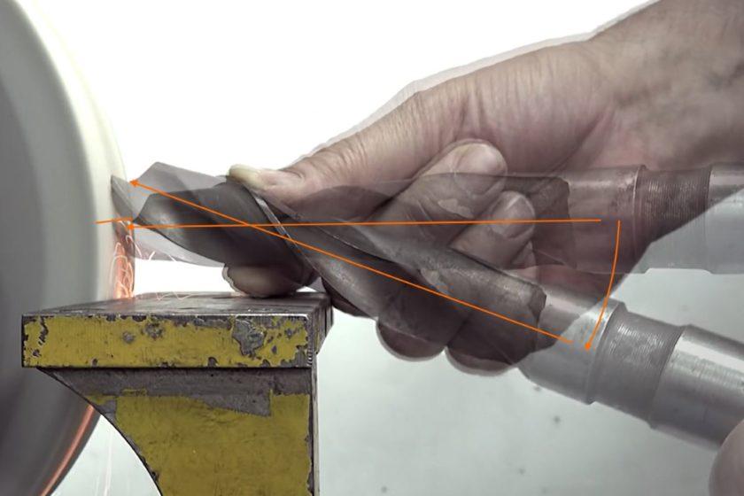 Процесс заточки сверла на точиле